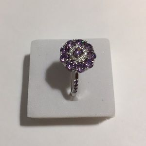 Flower fashion amethyst white topaz silver size 9